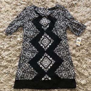 INC black and white geometric tunic